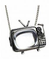 Vintage Silver TV Shape Necklace