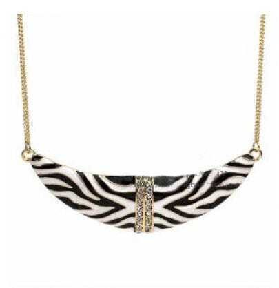 Zebra Print Moon With Rhinestone Necklace