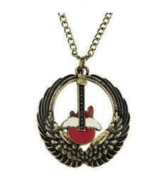 Wing With Guitar Long Necklace