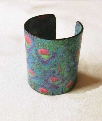 Vintage Blue Peacock Print Cuff Bracelet