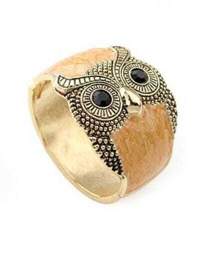 Owl Light Brown Crystal Vintage Bangle