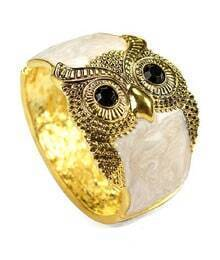 Owl Beige Crystal Vintage Bangle