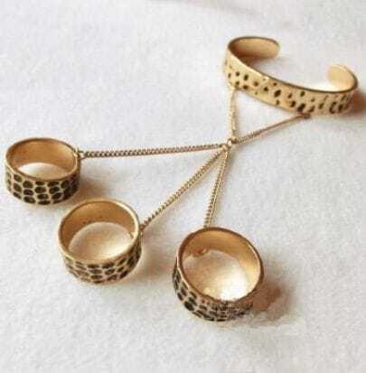 Gold Punk Bangle Cuff Bracelet Three Rings Set