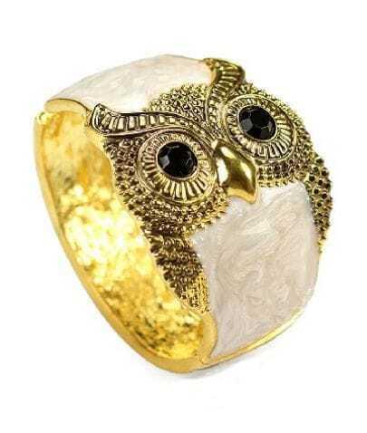 Owl Beige Crystal Vintage Bangle