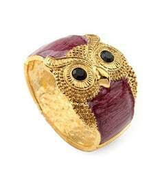 Owl Purple Crystal Vintage Bangle