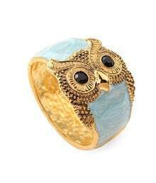 Owl Blue Sky Crystal Vintage Bangle