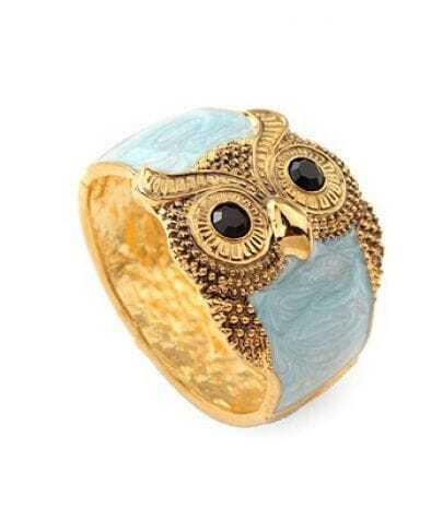 Owl Blue Sky Crystal Vintage Bangle