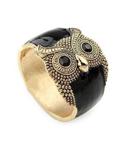 Owl Black Crystal Vintage Bangle