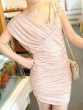 Pink Fashion Cotton Blends Pleated Mini Dress