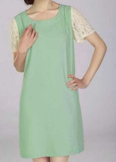 Green Solid Scoop Neck Short Sleeve Lace Loose Polyester Dress