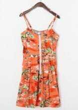 Orange Street Print Spaghetti Strap High Waist Cotton Dress