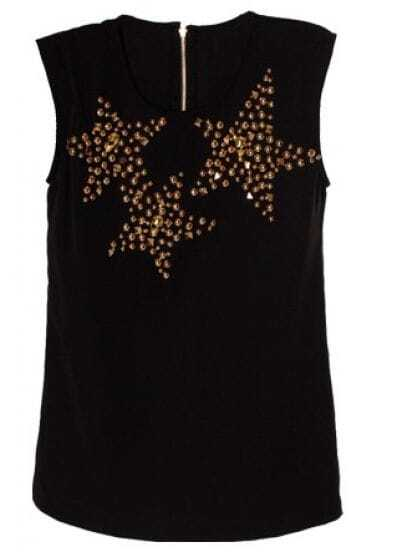 Black Round Neck Sleeveless Skull Studded Mid Waist Dress