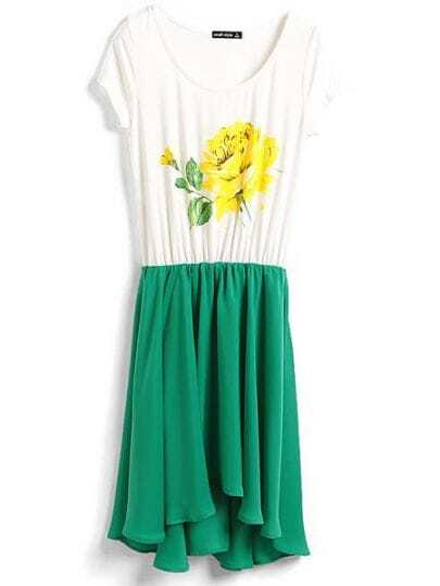 Green Round Neck Short Sleeve Color Block Print Chiffon Dress