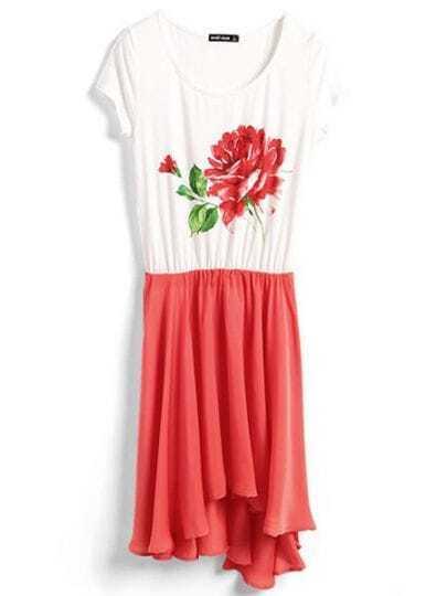 Red Round Neck Short Sleeve Color Block Print Chiffon Dress