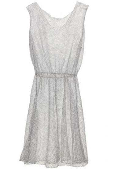 Silver Solid Street Round Neck Sleeveless Polyester Dress