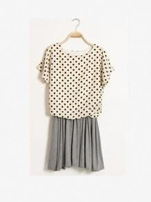 Grey Round Neck Batwing Short Sleeve Polka Dot Mid Waist Dress