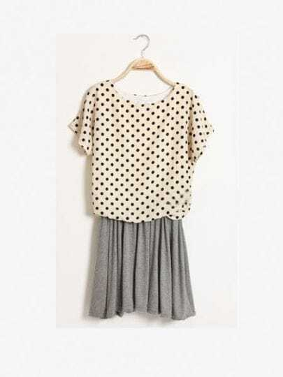 Grey Round Neck Batwing Short Sleeve Polka Dot Mid Waist Dress