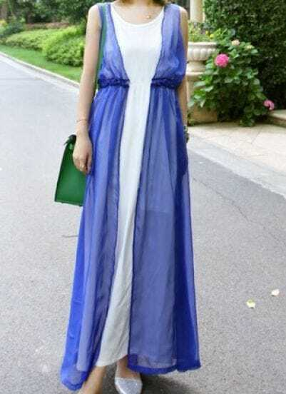 Blue Round Neck Sleeveless Double Layer Dress