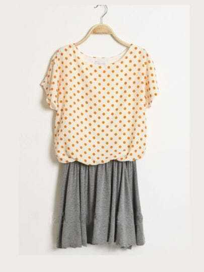 Orange Round Neck Batwing Short Sleeve Polka Dot Mid Waist Dress