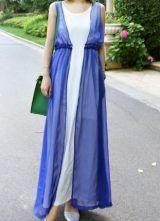 Blue Round Neck Sleeveless Double Layer Dress