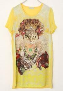 Yellow Round Neck Short Sleeve Cat Print Loose Waist Chiffon Dress