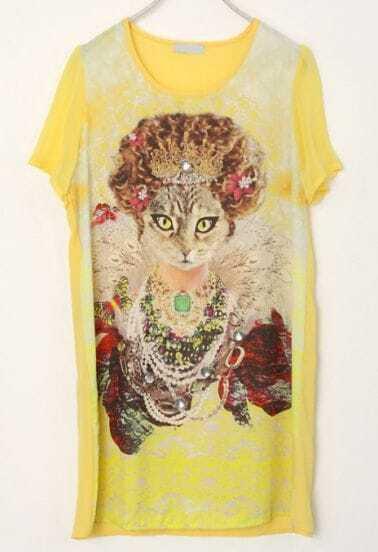 Yellow Round Neck Short Sleeve Cat Print Loose Waist Chiffon Dress