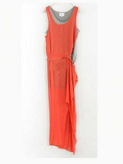 Red Solid Round Neck Sleeveless Color Block Mid Waist Chiffon Dress