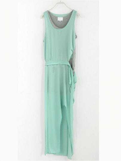 Green Solid Round Neck Sleeveless Color Block Mid Waist Chiffon Dress
