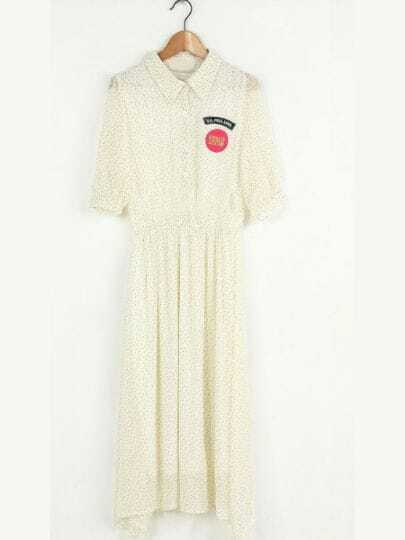 White Lapel Half Sleeve Polka Dot Mid Waist Chiffon Dress