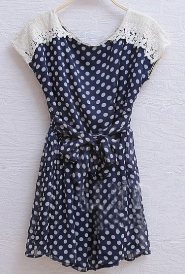 Navy Vintage Round Neck Short Sleeve Polka Dot Chiffon Dress