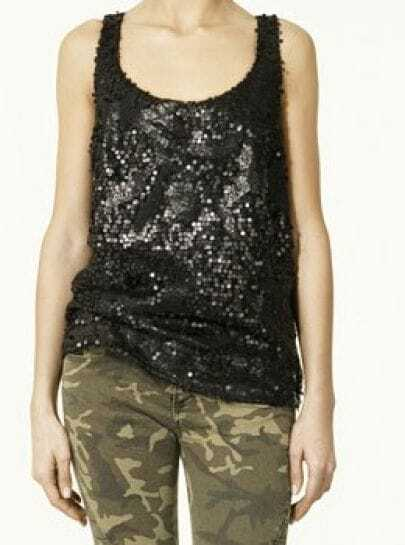 Black Sleeveless Sequined Racer Tank Top
