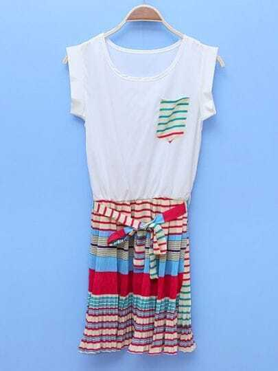 Blue Round Neck Short Sleeve Striped Color Block Mid Waist Dress