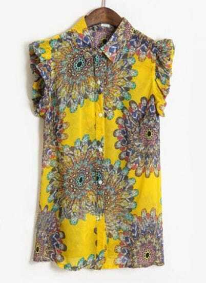 Yellow Lapel Sleeveless Sunflower Print Chiffon Shirt
