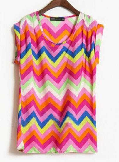 Purple Short Sleeve Zigzag Striped Satin Blouse