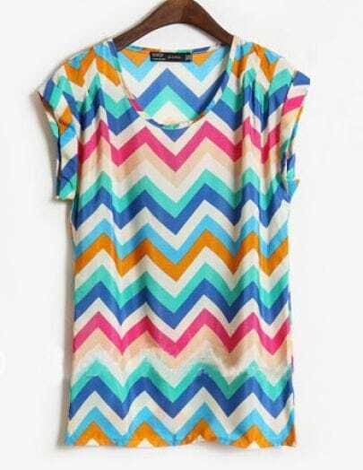 Blue Short Sleeve Zigzag Striped Satin Blouse