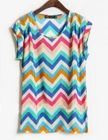Blue Short Sleeve Zigzag Striped Satin Blouse
