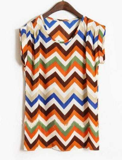 Coffee Short Sleeve Zigzag Striped Satin Blouse