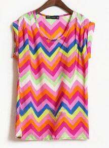 Purple Short Sleeve Zigzag Striped Satin Blouse