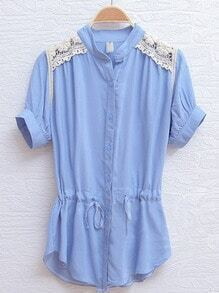 Blue Short Sleeve Crochet Floral Lace Shoulser Drawstring Shirt