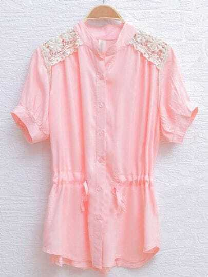 Pink Short Sleeve Crochet Floral Lace Shoulser Drawstring Shirt