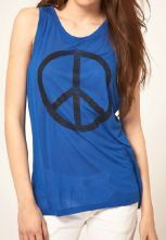 Blue Scoop Neck Sleeveess Peace Symbol Print Cotton T-shirt