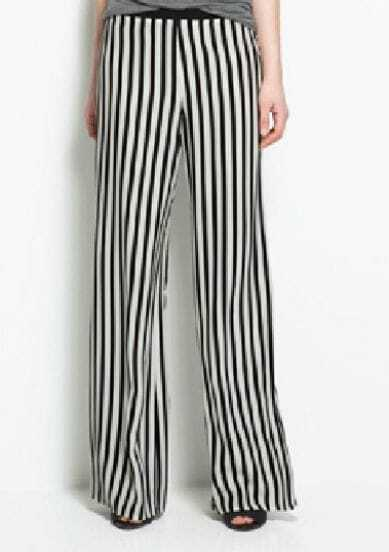 Black And White Color Block Broken Stripe Loose Chiffon Pants