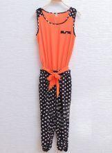 Orange Round Neck Sleeveless Polka Dot Mid Waist Capris Jumpsuit
