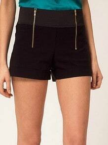 Black Street Loose Gold Zipper High Waist Cotton Blends Shorts