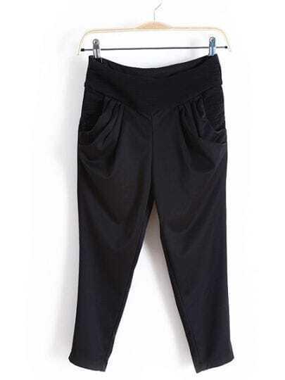 Black Casual Pleated Zipper High Waist Capris