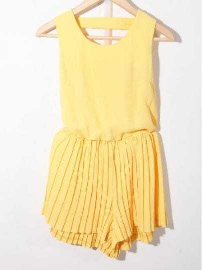 Yellow Solid Round Neck Sleeveless Pierced High Waist Chiffon Jumpsuit