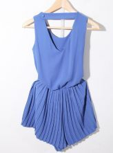 Blue Solid Round Neck Sleeveless Pierced High Waist Chiffon Jumpsuit