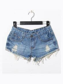 Light Blue Casual Ripped Star Mid Waist Denim Shorts