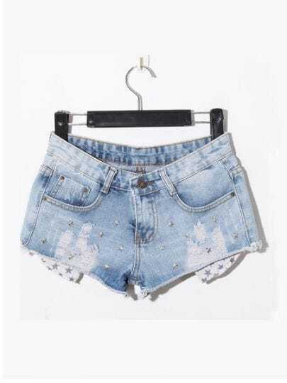 Light Blue Casual Ripped Mid Waist Denim Shorts