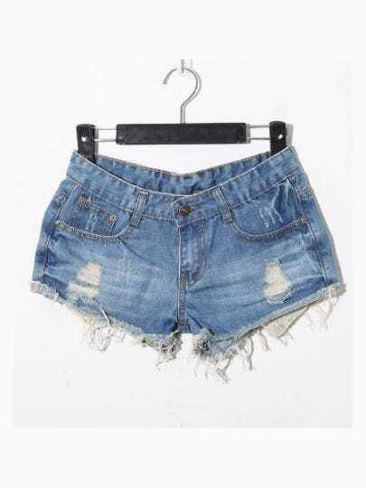 Light Blue Casual Ripped Star Mid Waist Denim Shorts